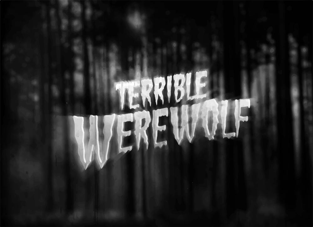 black and white werewolf movie title screen